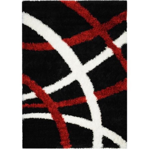 Black/ Red Stripes Shag Area Rug (5'x'7)