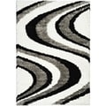 Black/ White Wave Stripes Area Rug (6'7 x 9'3)