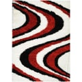 Red/ White Wave Stripe Design Area Rug (5'x7')