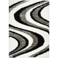 Black/ White Wave Design Shag Area Rug (5'x7')