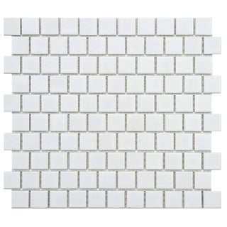 SomerTile 10.75x11.75-inch Victorian Square Glossy Offset Porcelain Mosaic Floor and Wall Tile (Case of 10)