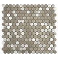 SomerTile 11.875x11.875-in Chromium Penny Stainless Steel Over Porcelain Mosaic Wall Tile (Pack of 10)