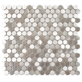 SomerTile 11.875x11.875-in Chromium Penny Stainless Steel Over Porcelain Mosaic Wall Tile (Pack of 1
