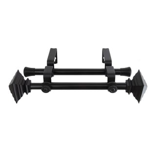 Black Square Adjustable Double Curtain Rod