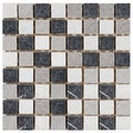 SomerTile Griselda Square Charcoal Natural Stone Mosaic Wall Tile (Pack of 10)