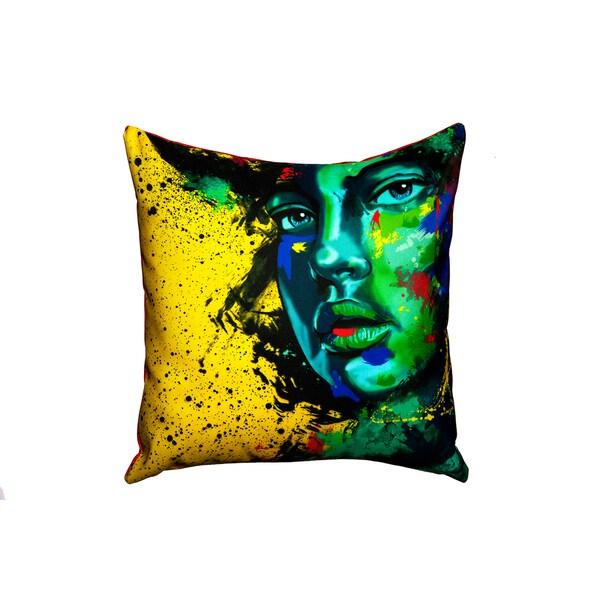 Maxwell Dickson Blue Eye Girl Throw Pillow