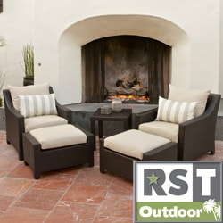 RST Slate 5-piece Club Chairs and Ottomans Patio Furniture Set