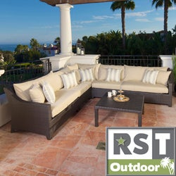 RST Slate 6-piece Corner Sectional Sofa and Coffee Table Set Patio Furniture Outdoor Model OP-PESS6-SLT-K