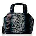 Vintage Reign 'Coco' Navy Leather Animal Print Bowler Bag