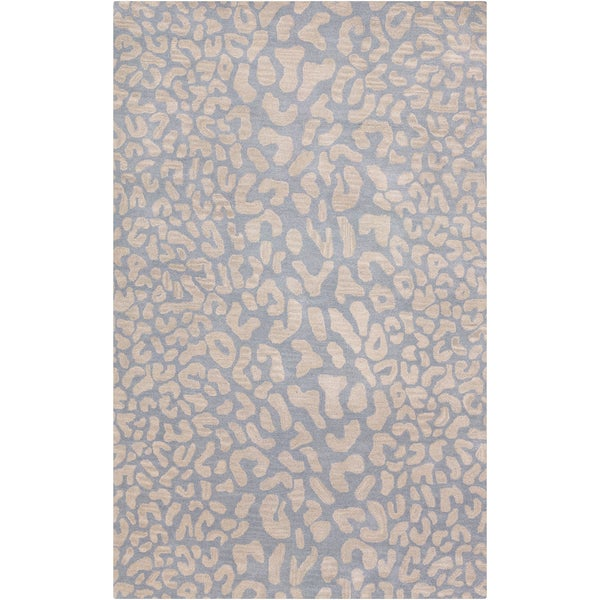 Hand-tufted SnowLeopard Dove Gray Wool Rug (5' x 8')