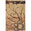 Hand-tufted Whispy Floral Tan Floral Wool Rug (5' x 8')