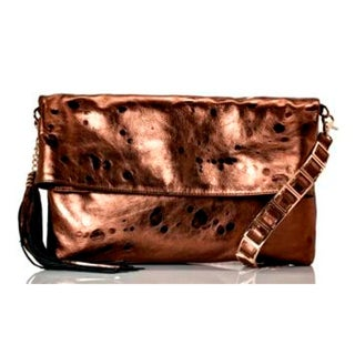 Vintage Reign Women's Bronze Leather Multi-way Clutch Handbag