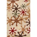Hand-tufted Paintburst Safari Beige Wool Rug (5' x 8')