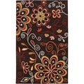 Hand-tufted Mod Floral Chocolate Brown Wool Rug (5' x 8')