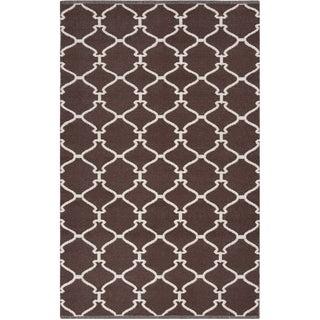 Hand-woven Mocha Trellis Dark Chocolate Wool Rug (3'3 x 5'3)