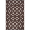 Hand-woven Mocha Trellis Dark Chocolate Wool Rug (3'3 x 5'3)