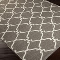 Hand-woven OvercastTrellis Grey Brown Wool Rug (5' x 8')