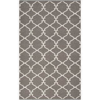 Hand-woven Overcast Trellis Grey Brown Wool Rug (8' x 11')