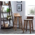 Kosas Home Tam Rustic Brown Elm Wood and Iron Low Back 30-inch Bar Stool