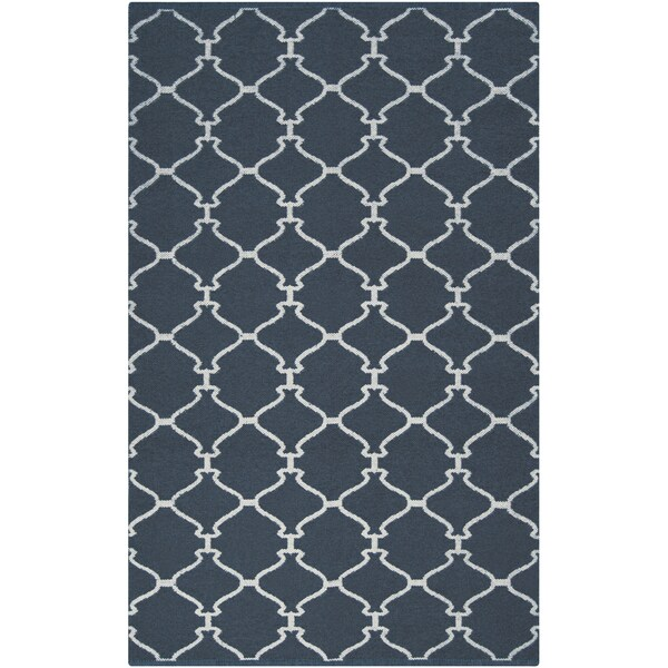 Hand-woven Midnight Trellis Midnight Blue Wool Rug (2' x 3')