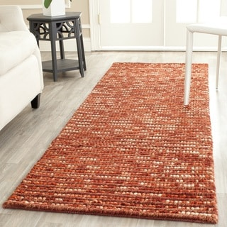 Hand-knotted Vegetable Dye Chunky Rust Hemp Rug (2'6 x 8')