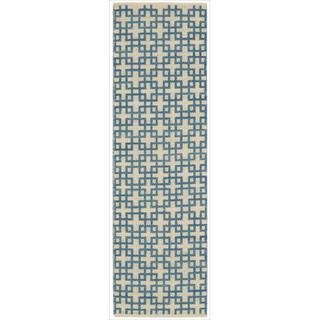 Barclay Butera by Nourison Maze Indigo Flatweave Rug (2'3 x 8')