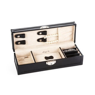 Morelle Black Tiffany Leather Vault Jewelry Box