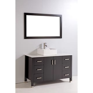 Artificial Stone Top 47-inch Single Ceramic Sink Bowl Bathroom Vanity with Mirror and Faucet