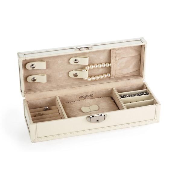 Morelle Cream Tiffany Leather Vault Jewelry Box