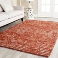 Hand-knotted Vegetable Dye Chunky Rust Hemp Rug (6' Square)