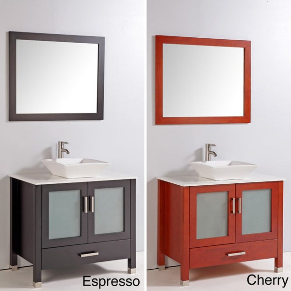 Bathroom Vanity With Bowl On Top : ... Top 36-inch Single Ceramic Sink Bowl Bathroom Vanity with Mirror and