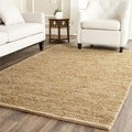 Hand-knotted Vegetable Dye Chunky Beige Hemp Rug (6' Square)