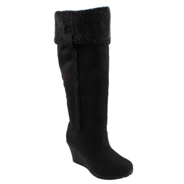Dreams by Beston Women's 'Arizona' Black Wedge Boots