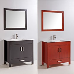 Ceramic Top 36-inch Single Sink Bathroom Vanity with Mirror and Faucet