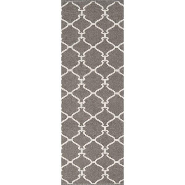 Hand-woven Overcast Trellis Grey Brown Wool Rug (2'6 x 8')