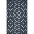Hand-woven Midnight Trellis Midnight Blue Wool Rug (8' x 11')