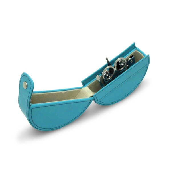 Turquoise Barbara Leather Round Manicure Set