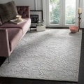 Handmade Fern Scrolls Grey New Zealand Wool Rug (5' Round)