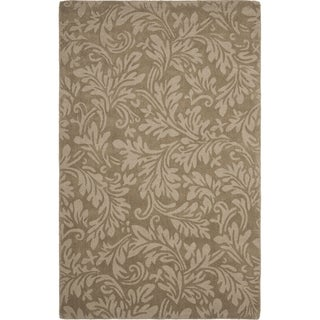 Handmade Fern Scrolls Brown New Zealand Wool Rug (8'3 x 11')