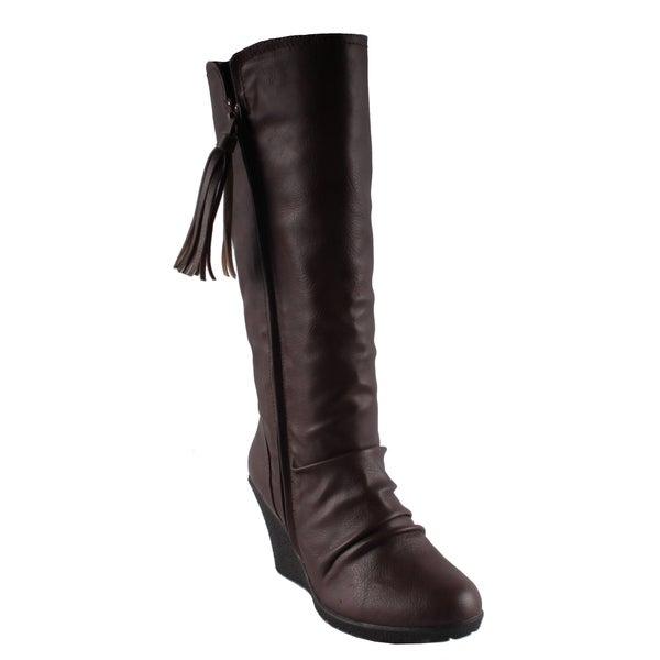 Dreams by Beston Women's 'Flu' Brown Wedge-Heel Boots