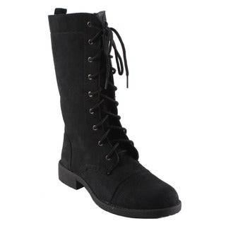 Dreams by Beston Women's 'KC' Black Lace-up Combat Boots