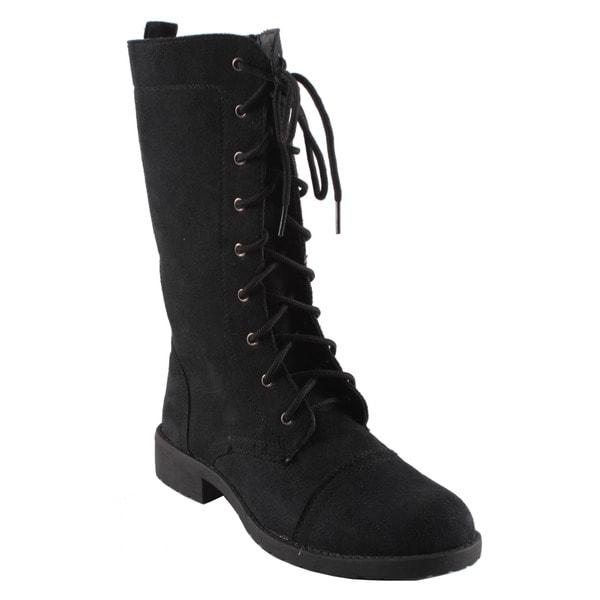Dreams by Beston Women's 'KC' Black Lace-up Combat Boots