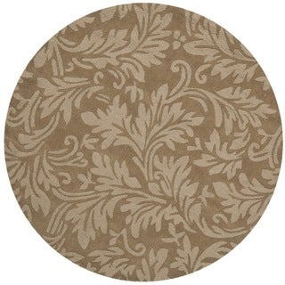Handmade Fern Scrolls Light Brown New Zealand Wool Rug (5' Round)