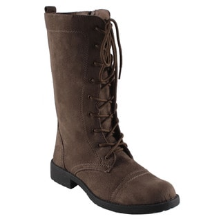 Dreams by Beston Women's 'KC' Khaki Lace-up Combat Boots