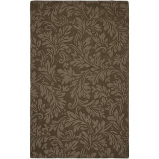 Handmade Fern Scrolls Light Brown New Zealand Wool Rug (7'6 x 9'6)