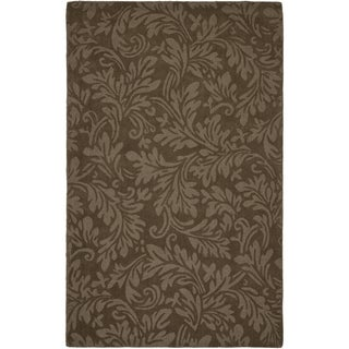 Handmade Fern Scrolls Light Brown New Zealand Wool Rug (8'3 x 11')