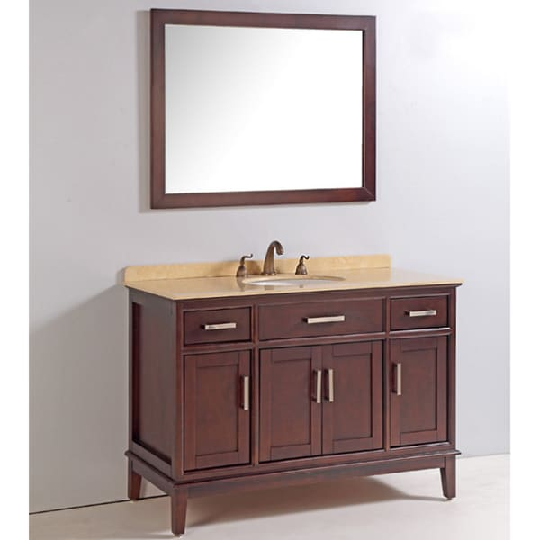 Marble top 48 inch single sink bathroom vanity with mirror for Bathroom 48 inch vanity