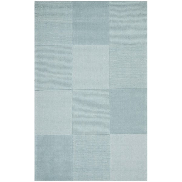Safavieh Handmade Squares Blue New Zealand Wool Rug (5' x 8')