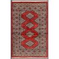 Pakistani Hand-knotted Bokhara Red/ Black Wool Rug (2'6 x 3'11)