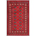 "Pakistani Hand-Knotted Bokhara Red/Ivory Wool Area Rug (3'2"" x 5')"